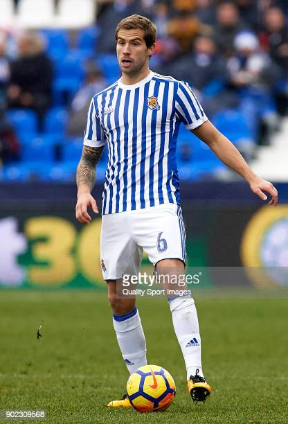 Inigo Martinez of Real Sociedad in action during the La Liga match between Leganes and Real Sociedad at Estadio Municipal de Butarque on January 7...