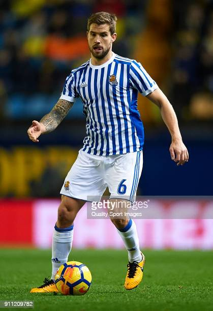 Inigo Martinez of Real Sociedad in action during the La Liga match between Villarreal and Real Sociedad at Estadio de La Ceramica on January 27 2018...