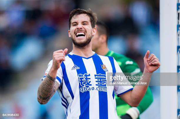 Inigo Martinez of Real Sociedad reacts during the La Liga match between Real Sociedad de Futbol and Villarreal CF at Estadio Anoeta on February 19...