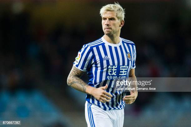 Inigo Martinez of Real Sociedad reacts during the La Liga match between Real Sociedad and Eibar at Estadio Anoeta on November 5 2017 in San Sebastian...