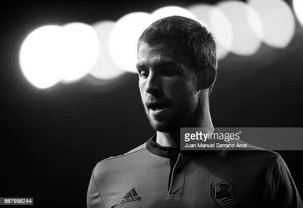 Inigo Martinez of Real Sociedad reacts during the UEFA Europa League group L football match between Real Sociedad de Futbol and FC Zenit Saint...