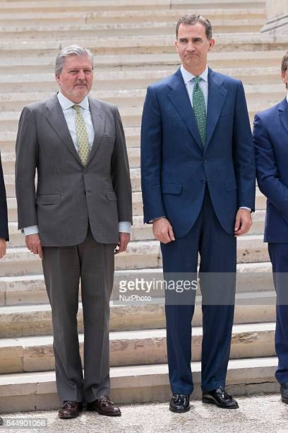 Inigo Mendez de Vigo and King Felipe VI of Spain attend 'CJC 2016 El Centenario De Un Nobel' Exhibition at the National Library on July 4 2016 in...