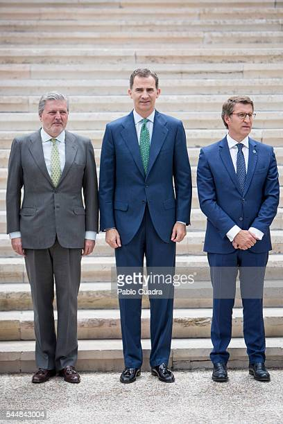 Inigo Mendez de Vigo King Felipe VI of Spain and Alberto Nunez Feijoo attend 'CJC 2016 El Centenario De Un Nobel' Exhibition at the National Library...