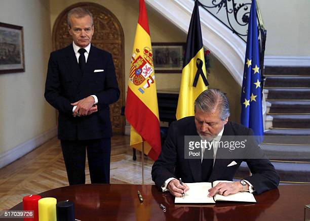 Inigo Mendez de Vigo Minister of Education Culture and Sports of the Government of Spain signs the book of condolences at the Belgium Embassy after...