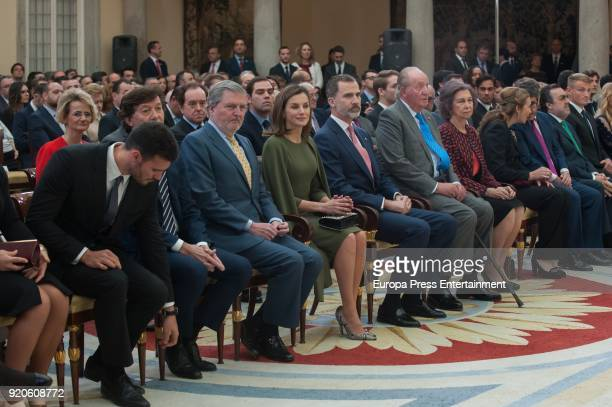 Inigo Mendez de Vigo Queen Letizia of Spain King Felipe VI of Spain King Juan Carlos and Queen Sofia deliver the National Sports Awards at El Pardo...
