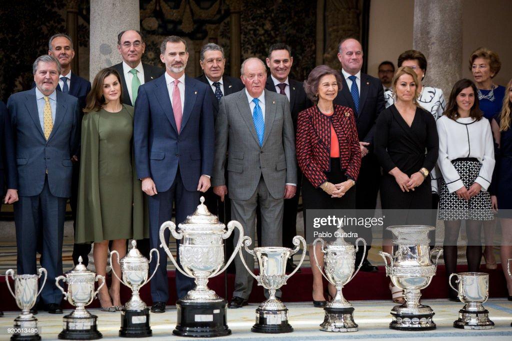 Inigo Mendez de Vigo, Queen Letizia of Spain, King Felipe VI of Spain, King Juan Carlos, Queen Sofia, Lidia Valentin and Maialen Chourraut attend the National Sports Awards ceremony at El Pardo Palace on February 19, 2018 in Madrid, Spain.