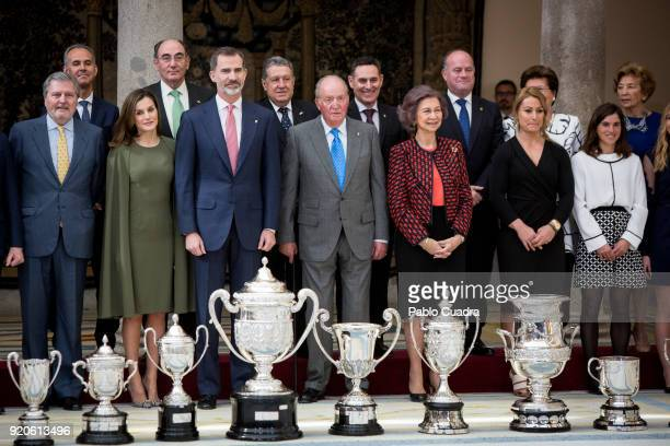 Inigo Mendez de Vigo Queen Letizia of Spain King Felipe VI of Spain King Juan Carlos Queen Sofia Lidia Valentin and Maialen Chourraut attend the...