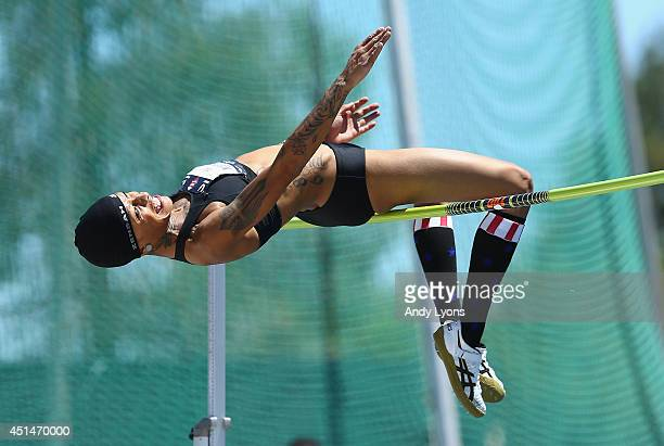 Inika Mcpherson clears a height on the way to win the Women's High Jump on day 5 of the USATF Outdoor Championships at Hornet Stadium on June 29 2014...