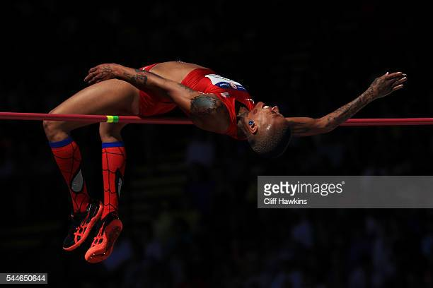 Inika McPherson competes in the Women's High Jump Final during the 2016 US Olympic Track Field Team Trials at Hayward Field on July 3 2016 in Eugene...