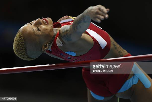US Inika McPherson competes in women's High Jump qualification group A at the IAAF World Indoor Athletics Championships in the Ergo Arena in the...