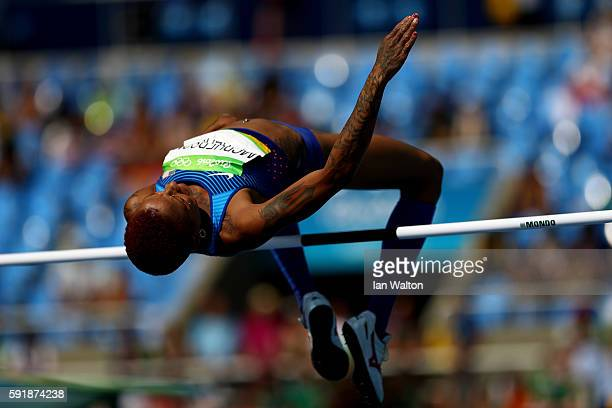 Inika McPherson of the United States competes in Men's Shot Put Qualifying on Day 13 of the Rio 2016 Olympic Games at the Olympic Stadium on August...