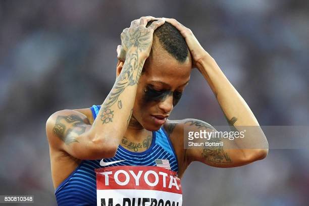 Inika McPherson of the United States reacts during the Women's High Jump final during day nine of the 16th IAAF World Athletics Championships London...