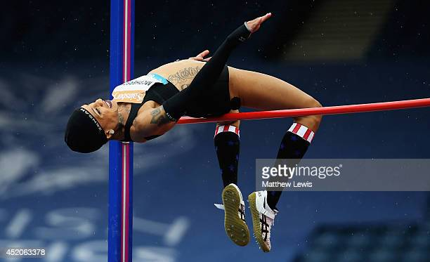 Inika McPherson of the USA in actino during the Womens High Jump during day two of the Diamond League Sainsbury's Glasgow Grand Prix at Hampden Park...