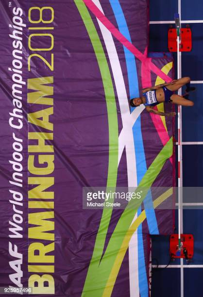 Inika Mcpherson of United States competes in the Womens High jump on Day One of the IAAF World Indoor Championships at Arena Birmingham on March 1...
