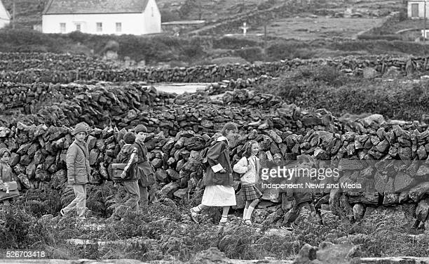 Inis Me��in Aran Islands September 21 1983 Children on Inis Me��in make their way to school over the rocky terrain of their island home Photographer...