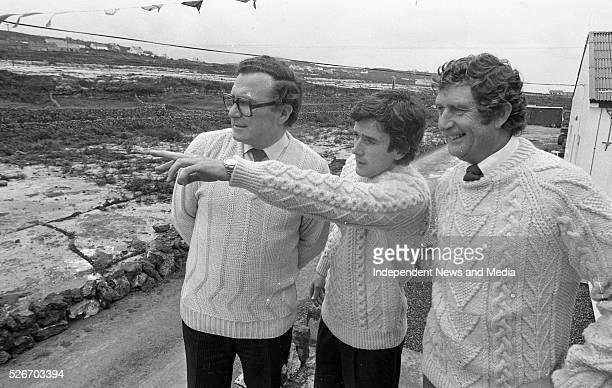 Inis Me��in Aran Islands September 21 1983 Wearing the local knitwear Gaeltacht Minister Paddy O'Toole centre and FiannaFail TD Bobby Molloy left...