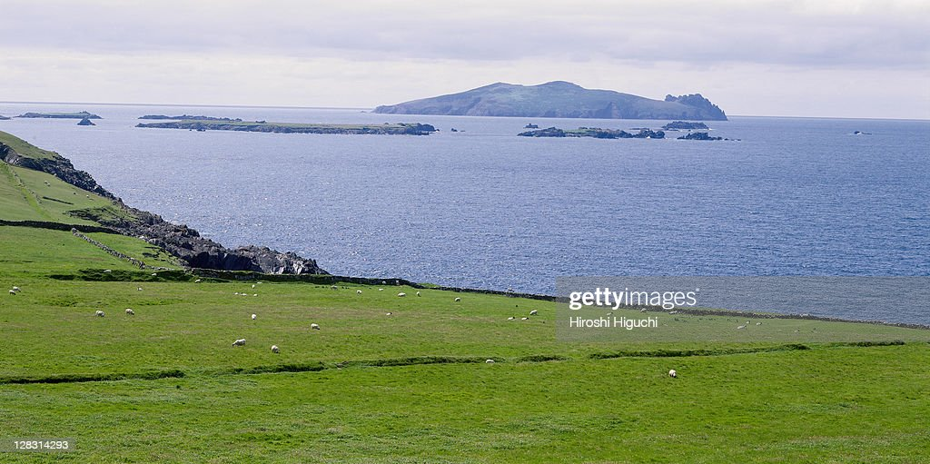 Inishtooskert (also called the Sleeping Giant), one of the Blasket Islands seen from Slea Head, Dingle Peninsula, County Kerry, Ireland : Stock Photo
