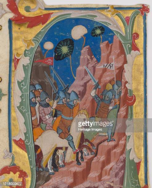 Initial A with the Battle of the Maccabees circa 136070 The Maccabees dressed as medieval knights and carrying a banner marked M triumphantly rout...
