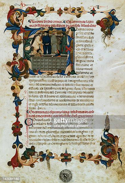 Initial capital letter A with illuminated scenes of the Tribunal of Merchandise miniature from Statutes of the Big Merchants manuscript Italy 15th...