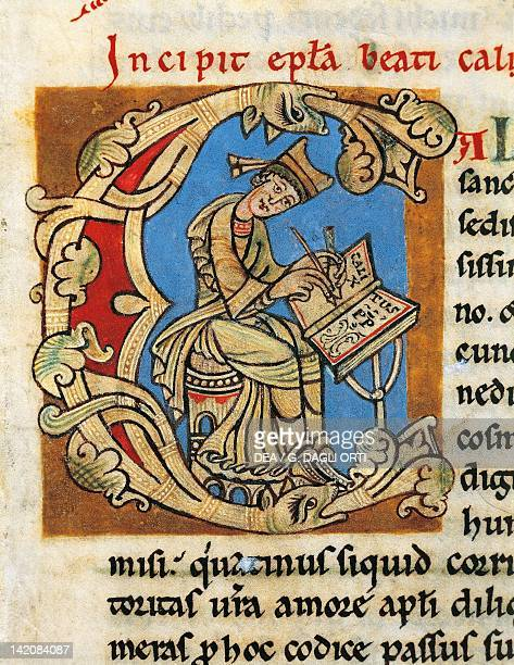 Initial capital letter C with Pope Callistus II in the act of writing miniature from the Calixtinus Code manuscript folio 1 recto 12th Century