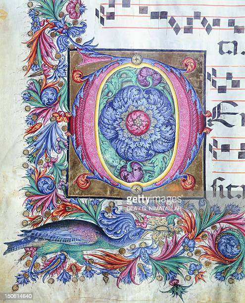 Initial capital letter depicting a choral from the Liberale da Verona Medieval manuscript 15th Century