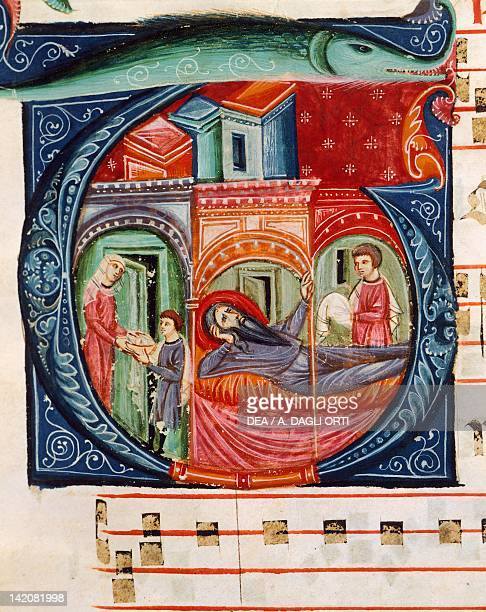 Initial capital letter G depicting a biblical scene miniature from a medieval choral manuscript Latin manuscript 13th Century