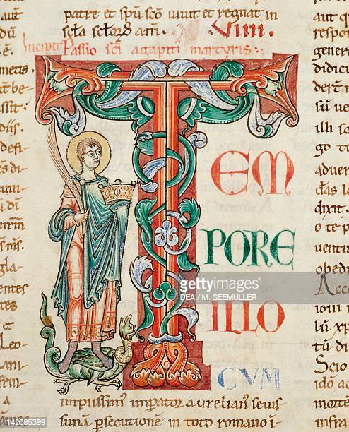 Initial capital letter T with Pope Saint Agapetus miniature from the Citeaux Legendary manuscript 641 folio 21 verso France 12th Century