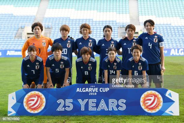 Initial eleven of Japan during the Women's Algarve Cup Tournament match between Denmark and Japan at Algarve stadium on March 5 2018 in Faro Portugal