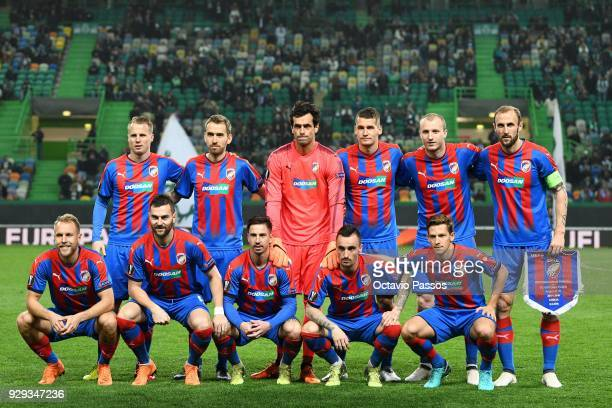 Initial eleven of Viktoria Plzen during the UEFA Europa League Round of 16 first leg match between Sporting Lisbon and Viktoria Plzen at Estadio Jose...