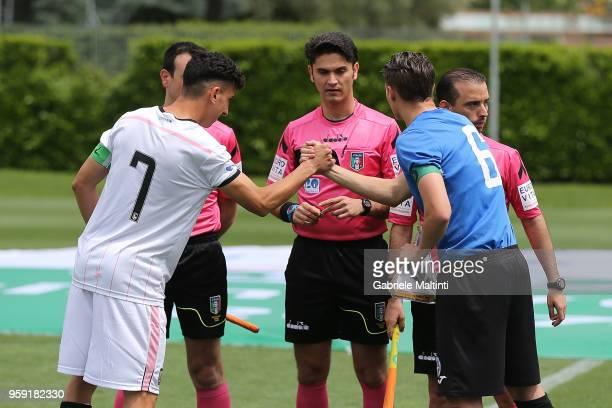 Initial greeting between the captains of US Citta di Palermo U19 and Novara U19 during the SuperCoppa primavera 2 match between Novara U19 and US...