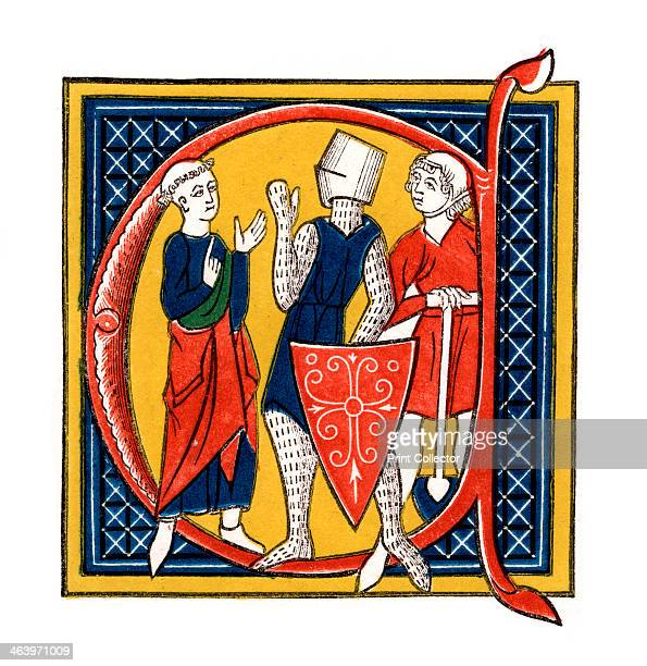 Initial letter 'C' early 14th century After a manuscript illustration to the poem by Gautier de Metz Image du Monde showing the three classes or...