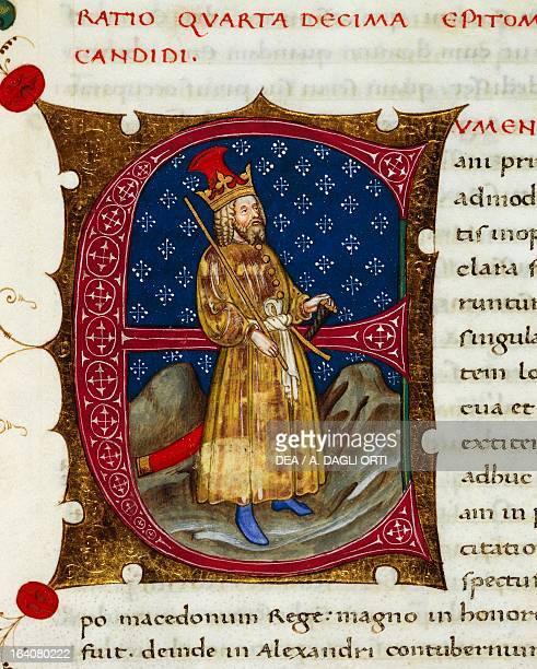 Initial letter E depicting Eumenes of Cardia miniature from In libris epitomatum illustriorum virorum Plutarchi by Pietro Candido Decembrio parchment...