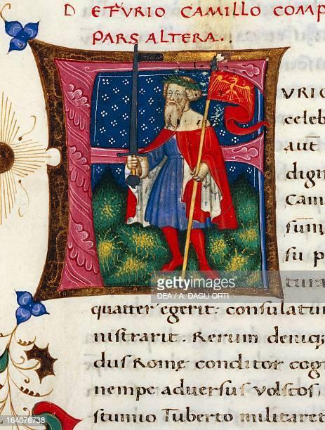 Initial letter F depicting Furio Camillo miniature from In libris epitomatum illustriorum virorum Plutarchi by Pietro Candido Decembrio parchment...