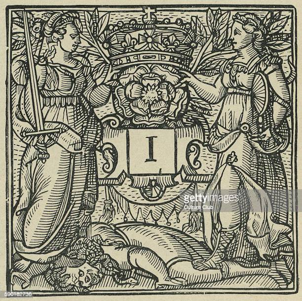 Initial Letter 'I' from Sidney's Arcadia 1590 Showing two armed women trampling a medusafigure with snakes for hair Initial 'I' sits beneath a...