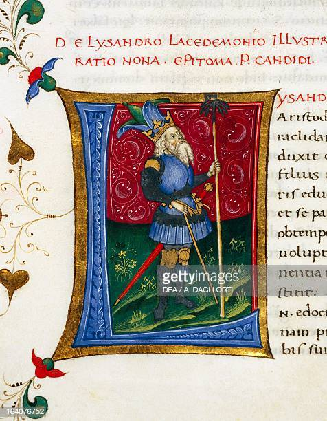 Initial letter L depicting Lysander miniature from In libris epitomatum illustriorum virorum Plutarchi by Pietro Candido Decembrio parchment...