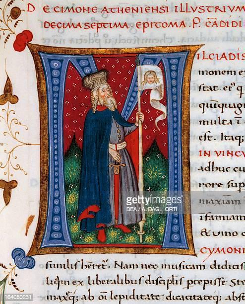 Initial letter M depicting Cimon miniature from In libris epitomatum illustriorum virorum Plutarchi by Pietro Candido Decembrio parchment manuscript...