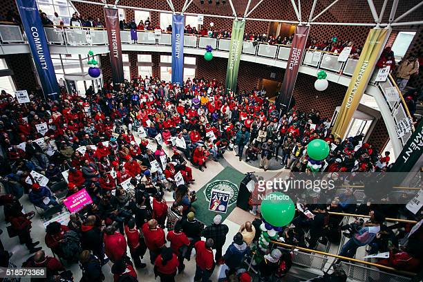 Initial protest in the Student Union Building of Chicago State University in Chicago, Illinois, United States, on 1st April, 2016. Teachers gather to...
