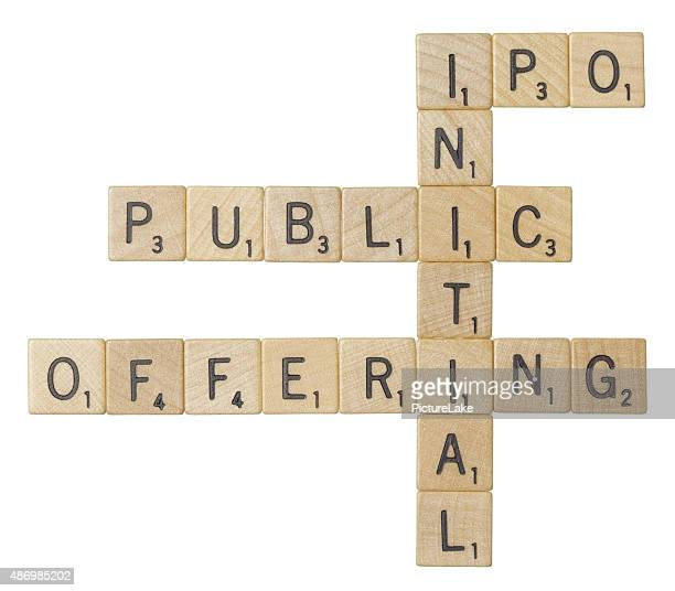 IPO, initial public offering, Scrabble tiles