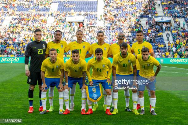 Initial team of Brazil during the international friendly match between Brazil and Panama at Estadio do Dragao on March 23 2019 in Porto Portugal