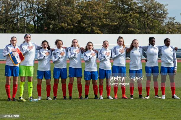 Initial team of France U16 Girls Clara Moreira Mary Innebeer Manon Revelli Celya Barclais Emmy Jezequel Assia Gayme Adeline Coquard Malaury Craff...