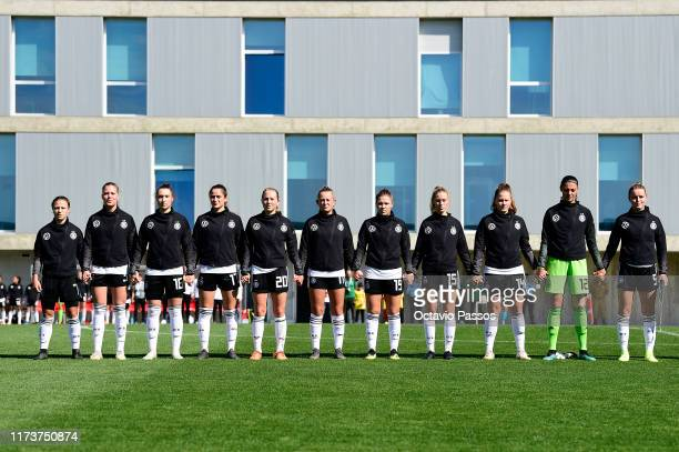 Initial team of Germany during the UEFA Women's U19 European Championship Qualifier match between Germany and Azerbaijan at Cidade Desportiva de...