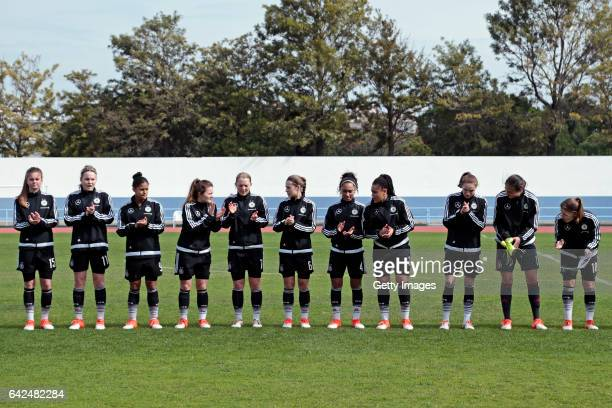 Initial team of Germany U16 Girls Sina Bühler Laura Haas Shekiera Martinez Noreen Günnewig Pauline Wimmer Lina Jubel Vanessa Fürst Michelle...