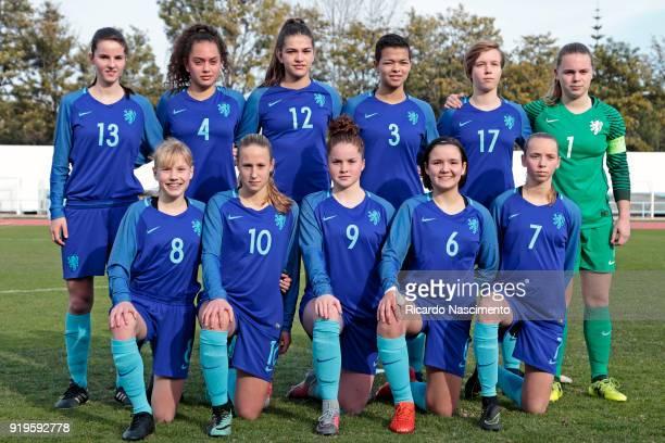 Initial team of Girls Netherllands U16 Floor van Loon Tineke de Jong Zaina Bouzerrade Samantha van Diemen Manique de Vette Claire Dinkla Anna...