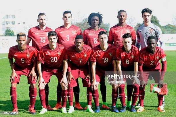 Initial team of Portugal U17 Daniel Simoes Pedro Alvaro Romario Baro Tiago Djalo Joao Goncalo Goncalo Costa Pedro Neto Umaro Embalo Andre Almeida...