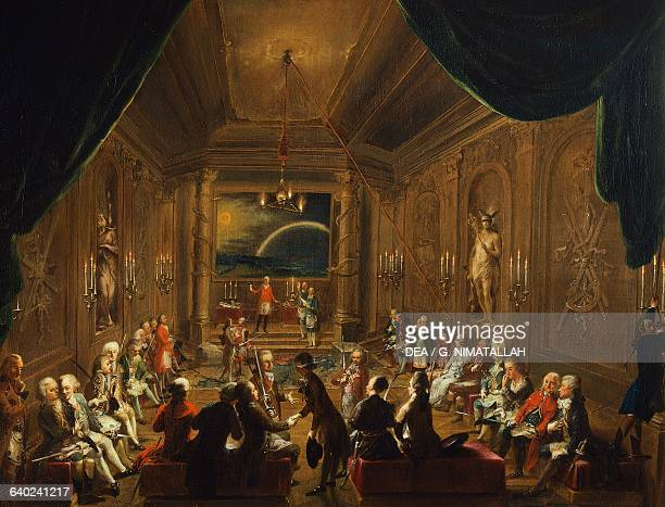 Initiation ceremony in 1789 in a Viennese masonic lodge during the reign of Joseph painting by Ignaz Unterberger Austria 18th century Vienna...