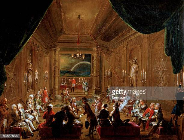Initiation ceremony in a Viennese Masonic Lodge during the reign of Joseph II with Wolfang Amadeus Mozart seated on the extreme left 1784 painting by...
