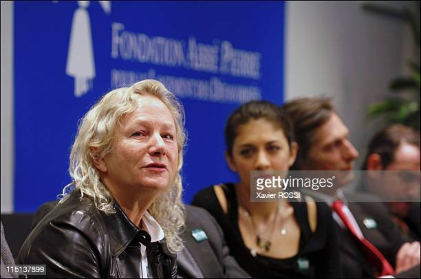 Initiation of the Committee of Friends and Sponsors of the Abbe Pierre Foundation in Paris France on March 16 2006 Agnes B Nolwenn Leroy