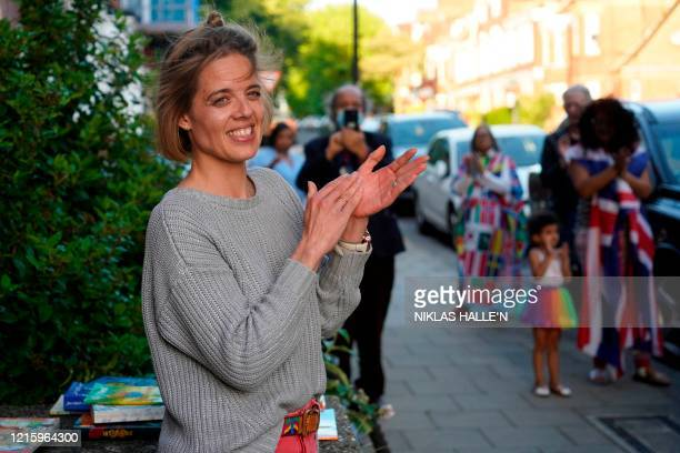 """Initiator of """"clap for carers"""" Annemarie Plas, participates in her final clap to show thanks for the work of Britain's NHS workers and other..."""