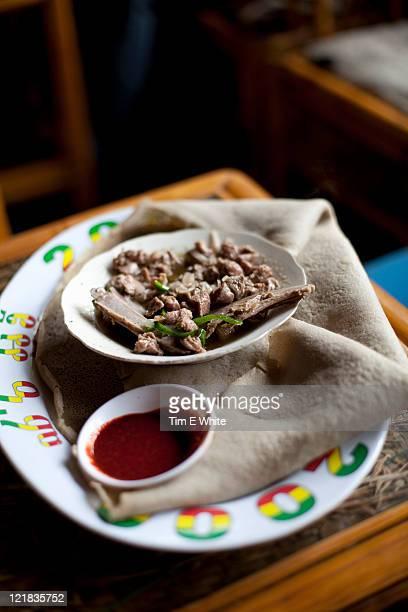 Injeera bread dish, Gondor, Ethiopia, Africa