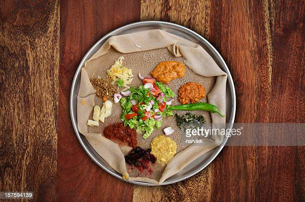 injera meal - ethiopia stock photos and pictures
